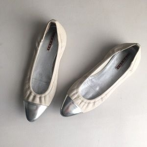 Prada sport silver tipped leather flats